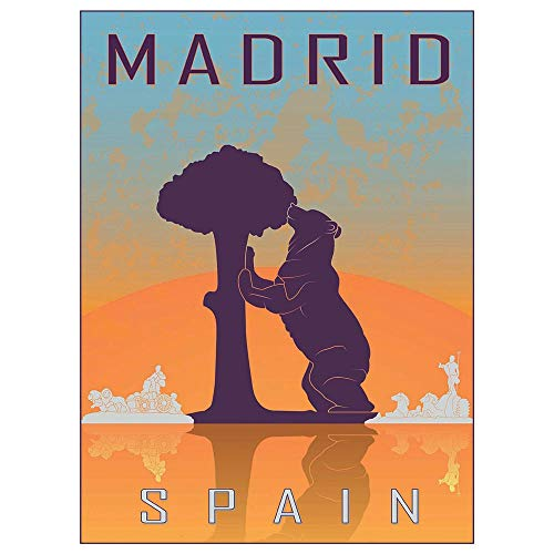 (Wee Blue Coo Travel Tourism Madrid Spain Bear Madrono Tree City Symbol Vector Unframed Wall Art Print Poster Home Decor Premium)