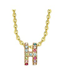 Lee Island Fashion 18K Gold Plate and Austrian Crystal Better and Better Pendant Enhancers Necklace 18 inch Woman Girl Gift- Halloween Costumes Princess Necklace