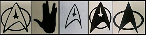 Set of 5 Star Trek Cell Phone Decals: Fleet Insignias & Vulcan Collection in Matte Black