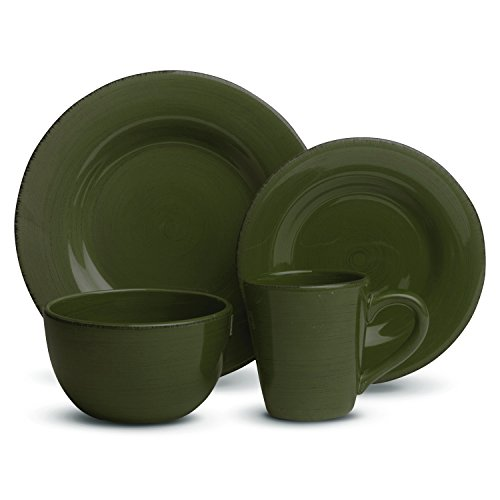 tag - Sonoma 16-Piece Ironstone Ceramic Dinner Set, A Stylish Way to Bring Bold Color to Your Table, Moss Green -
