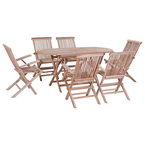 Festnight 7 Piece Wooden Outdoor Dining Set Oval Folding Table with Umbrella Hole and 6 Foldable Chairs Teak Wood Patio Furniture Space Saving for Garden Backyard Terrace - Outdoor Dinette Set