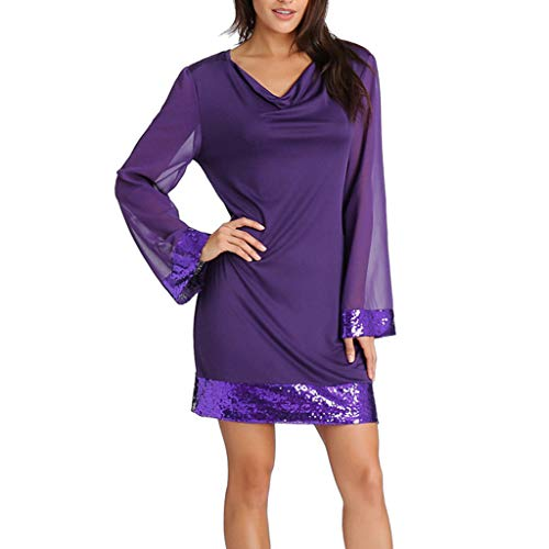 Dress Chiffon Bust Sequined (Women Mini Dress Casual V-Neck Sequined Ruffled Chiffon Long Sleeve Stitching Solid Dresses A-Line Purple)