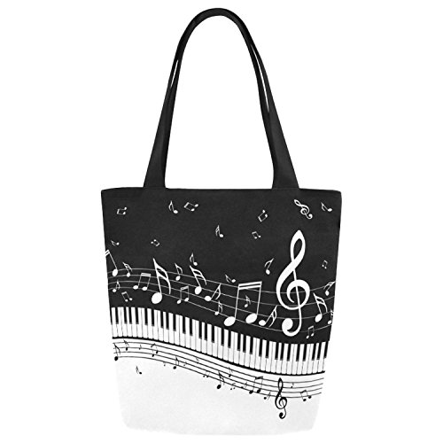 InterestPrint Piano Keys Music Notes Black and White Canvas Tote Bag Shoulder Handbag by InterestPrint