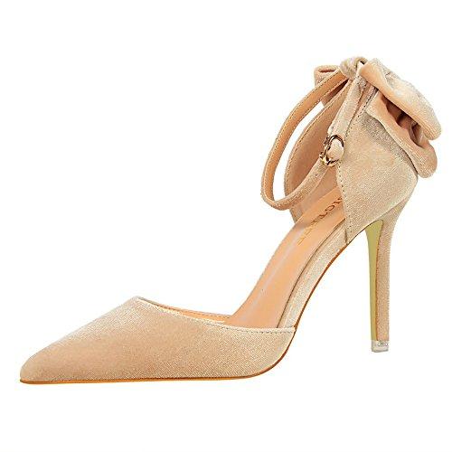 z&dw Zapatos de gamuza fina con zapatos de tacón alto arco sandalias de correa palabra Color Champagne