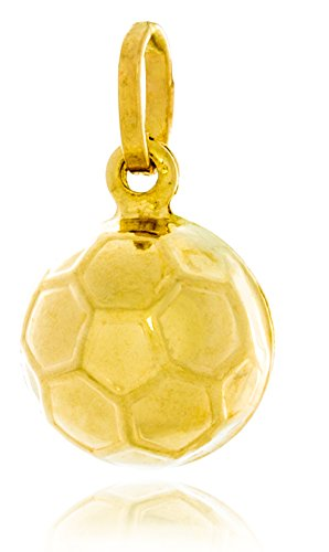 14k Solid Gold Soccer Ball - Solid Gold Charm Pendant of Soccer Ball (Hollow) Made in Italy of 14K Yellow Gold 12mm in Diameter | 1.7g