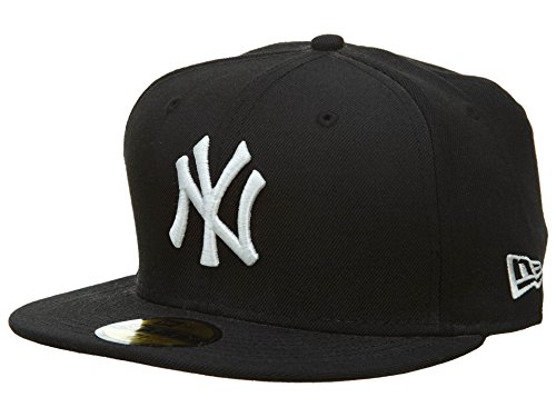 MENS MLB New Era New York Yankees Black White Fitted Size 7 1/8 Cap