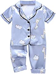 Girls Summer Clothes, Toddler Baby Boy Girl Short Sleeve Cartoon Tops+Pants Pajamas Sleepwear Outfits for 1-5