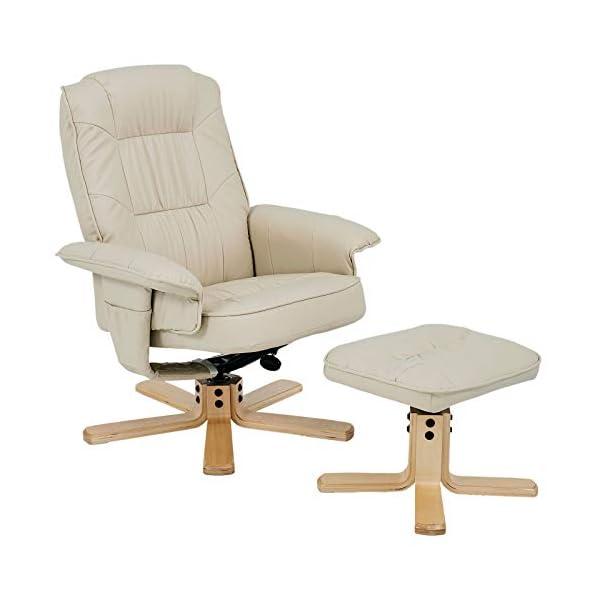 IDIMEX Fauteuil de Relaxation Charly avec Repose-Pieds Pouf, siège pivotant et Dossier inclinable, Assise rembourrée Confortable et Relax, revêtement synthétique Beige