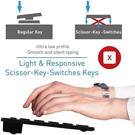 Macally 2.4G Mini teclado inalámbrico – ergonómico y cómodo – pequeño teclado para ordenador portátil o Windows PC, tableta, Smart TV – Plug & Play Teclado compacto 12 teclas de acceso rápido multimedia 6