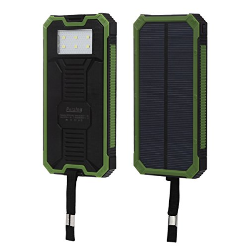Solar Charger, Peralng¨ Portable Solar Power Bank 15000mAh Dual USB Battery Charger Solar Power Charger Backup