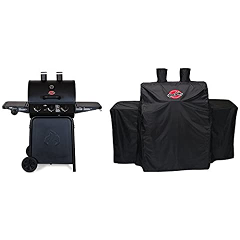 Char Griller 3-Burner Grillin' Pro Propane Gas Grill + Full Length Grill Cover (Char Grill 3001)
