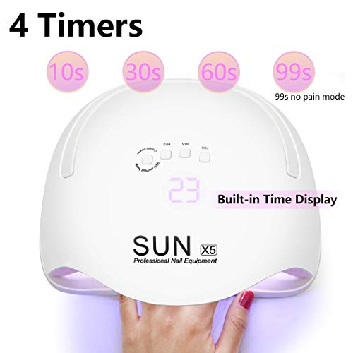 Gel UV LED Nail Lamp, 168W LED Nail Light for Gel Polish Nail Dryers with 4 Timers Professional Portable Gel Nail Polish Curing Lamps, Automatic Sensor UV Nail Light for Home and Salon