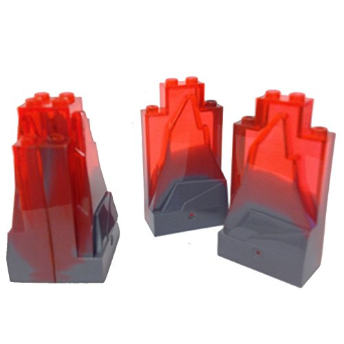 "Lego Parts: Landscaping Rock Panel ""2 x 4 x 6 Studs"" with Marbled Lava Pattern (Service Pack 47847 - 4 Dark Bluish Gray/Neon Orange)"