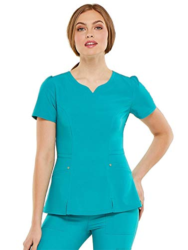HeartSoul Love Always Women's V-Neck Solid Scrub Top Medium Teal Blue