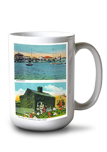 Lantern Press Nantucket, Massachusetts - View of Waterfront, Old Ivy Cottage on Liberty St (15oz White Ceramic Mug) (Waterfront Cottage)