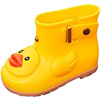 Yamally Boy's Girl's Yellow Duck Waterproof Shoes Warm Waterproof Boots Rain Boots for Kids
