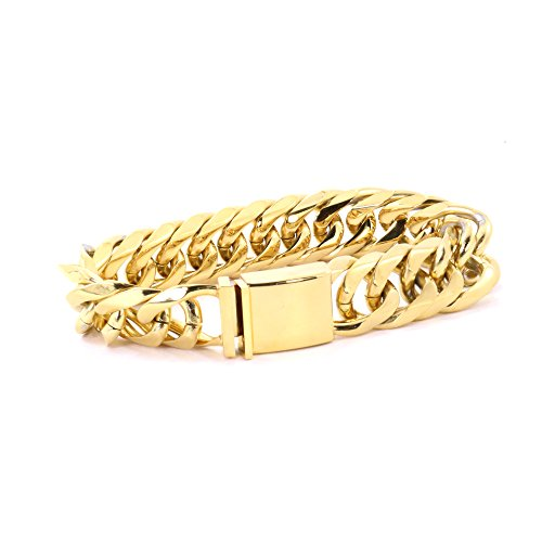 Solid 14k Yellow Gold Finish Stainless Steel 18mm Thick Miami Cuban Link Bracelet 9'' Long (14k Yellow Mens Bracelet)
