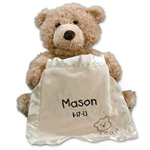 Embroidered Peek A Boo Bear, Plush, Free Personalization - 41YnBcHuqQL - GiftsForYouNow Embroidered Plush Peek-A-Boo Bear, Personalized Baby Gift
