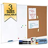 White Board and Cork Board Combination 48 x 36, Large Magnetic Bulletin Board for Home or Office, Versatile Wall Mounted Dry Erase Board | Message & Memo Board | Markers, Eraser, Push Pins Included