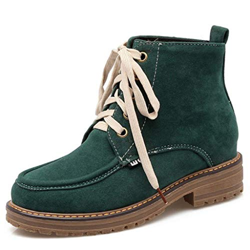 GIY Women's Lace Up Low Heel Work Combat Boots Round Toe Waterproof Short Ankle Bootie Hiking Boots