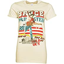Womens Beige Bruce Springsteen Tour Rolled Sleeve Boyfriend T Shirt