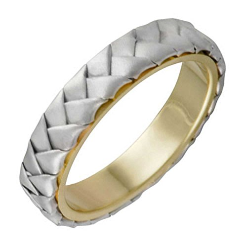 Two Tone Platinum and 18K Yellow Gold Braided Basket Weave Men's Wedding Band (5mm) Size-16c2
