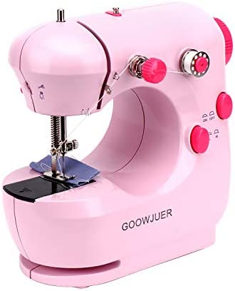 GOOWJUER PortableSewing Machine, Mini Electric Sewing Machines with Extension Table, Household Lightweight Hand Sewing Machine for Beginners Tailors/Arts/Crafting (Pink)