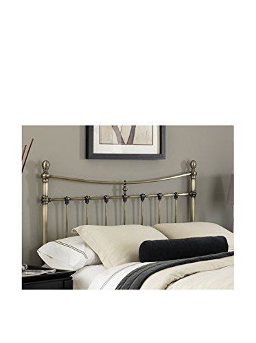 Iron Antique Brass Beds - Leighton Metal Headboard with Rounded Posts and Scalloped Castings, Antique Brass Finish, King