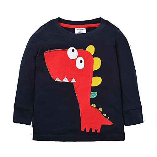 Merida's Little Brothers Costume (Uudora Baby Boy's and Girl's Dinosaurs Embroidery Casual Long Sleeves T-Shirts 1-6Y)
