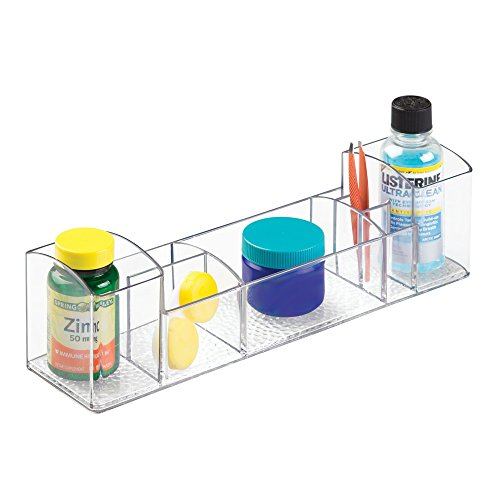 InterDesign Med+ Bathroom Medicine Cabinet Organizer for Electric Toothbrush, Toothpaste, Vitamins, Makeup - Clear