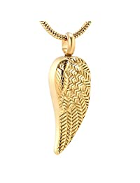 Angel Feather Wings Cremation Jewelry for Ashes Pendant Stainless Steel Urns Pet/Human Memorial Necklace for Men Women & Free Fill Kits