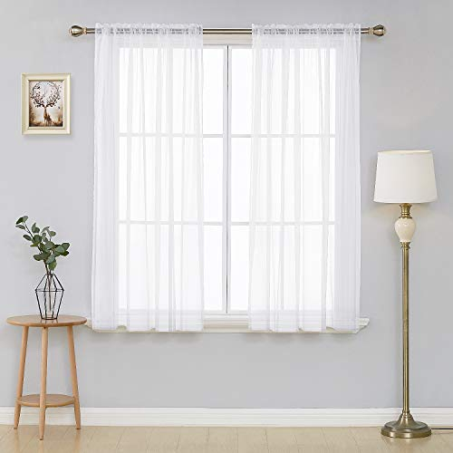 Deconovo White Sheer Curtains 63 Inch Length-Rod Pocket Voile Drape Curtains for Living Room 2 Panels 54W x 63L Inch