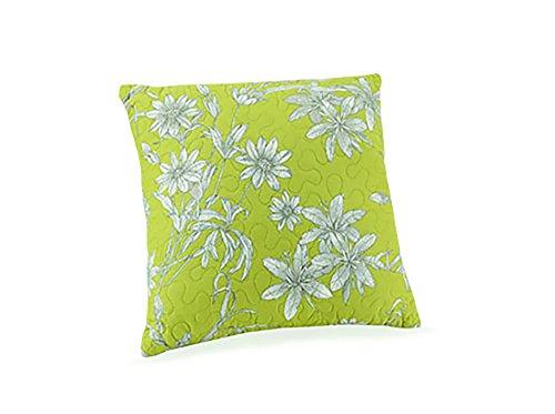 Peking Handicraft Tranquil Garden Quilted Decorative Pillow, 14x14 Throw Pillow Green/Aqua ()
