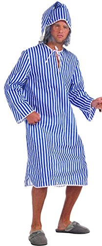 Forum Novelties Men's Plus Sized Scrooge Costume Nightshirt, Blue/White, Plus Size -
