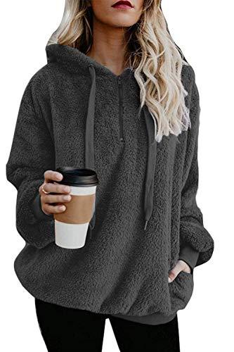 Fleece Hoodies for Women Pullover Warm Loose Long Sweatshirt Plus Size Gray XL