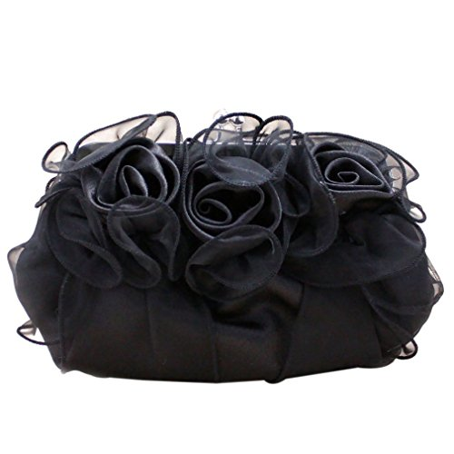 Women's Wedding Flower Bags Black Belsen Evening Rose Satin f4vWqd