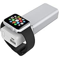 Element Works Dual Portable Backup Battery and Charger for Smartphones & Apple Watch- Apple Certified (Silver)