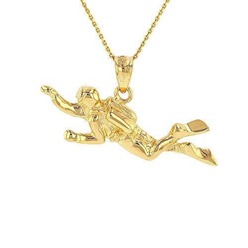 Solid 14k Yellow Gold 3D Scuba Diver Diving Frogmen Pendant Necklace, 16