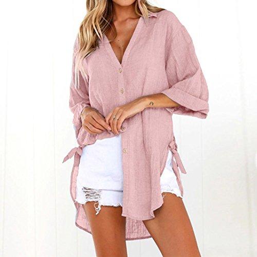 Dames Casual Chemise Coton Rose Femmes Shirt Lache Blouse Bouton MORCHAN Robe Longue T Tops U80qUw