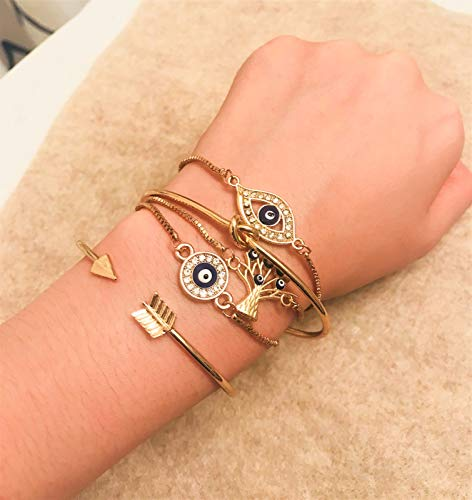 ISAACSONG.DESIGN Bohemian Evil Eye Love Knot Charm Adjustable Bolo Chain Link and Bangle Cuff Bracelet Set for Women and Girls (5 Pcs Evil Eye Set) by ISAACSONG.DESIGN (Image #2)