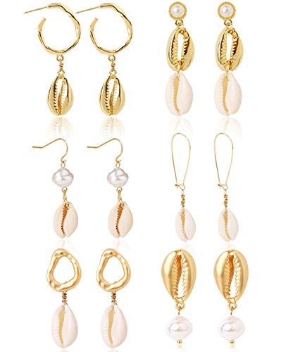WAINIS 6 Pairs Metal Shell Drop Earrings for Women Girls Handmade Pearl Dangle Bohemian Earrings Set