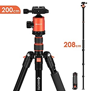 GEEKOTO Tripod 200cm, Camera Tripod for DSLR, Compact Aluminum Tripod with 360 Degree Ball Head and 8kgs Load for Travel and Work