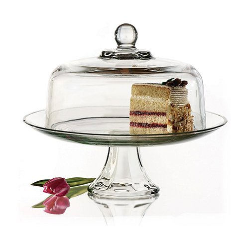Anchor Hocking Presence Cake Plate w/Dome, 2 Piece Stand & Dome (Plate Hocking Anchor Cake)