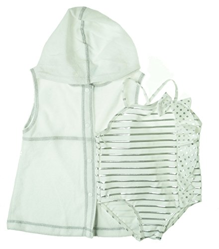 Baby Buns Little Girls'  Ribbons and Dots Ruffle Bow One Piece Swimsuit, White, 3T