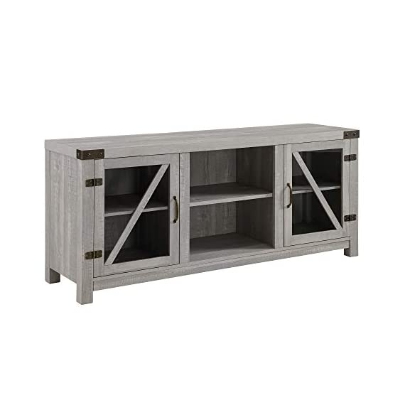 """Walker Edison Furniture Company Farmhouse Barn Glass Wood Universal Stand for TV's up to 64"""" Flat Screen Living Room Storage Cabinet Doors and Shelves Entertainment Center, 58 Inch, Stone Grey - Dimensions: 25"""" H x 59"""" L x 16"""" W Cable management features to run cords in the back of the TV stand Made from high-grade certified MDF for long-lasting construction - tv-stands, living-room-furniture, living-room - 41YnFctuCRL. SS570  -"""