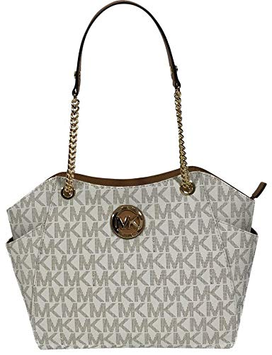 MICHAEL Michael Kors Women's Jet Set Travel Large Chain Shoulder Tote Printed Handbag (Vanilla ()