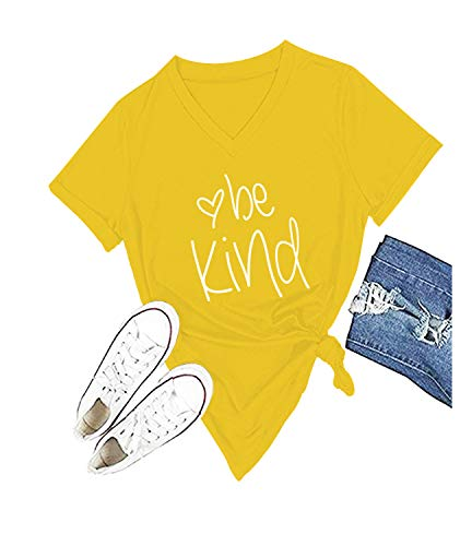 (Be Kind T Shirts Women Cute Graphic Blessed Shirt Funny Inspirational Teacher Fall Tees Tops (S, Yellow))