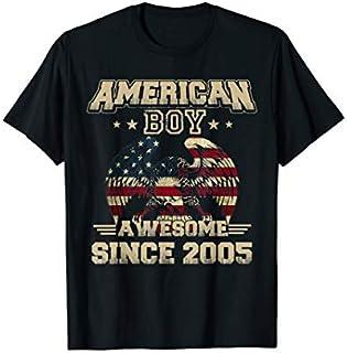 Retro Vintage American Boy Awesome Since 2005 USA Flag T-shirt | Size S - 5XL