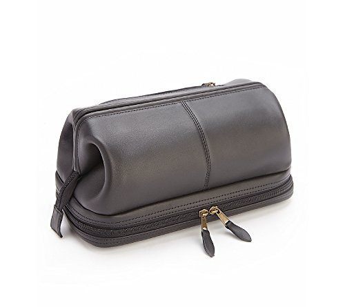 Royce Leather Executive Toiletry Travel Wash Bag Black by Royce Leather