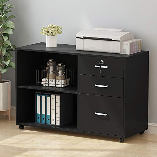 Tribesigns 3 Drawer File Cabinets, Large Modern Lateral Mobile Filing Cabinets Printer Stand with Wheels, Open Storage Shelves for Home Office Study Bedroom (Black with Lock)